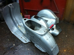 Vintage Vespa in parts before restoration