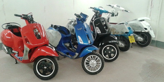Scooters ready for accident repairs